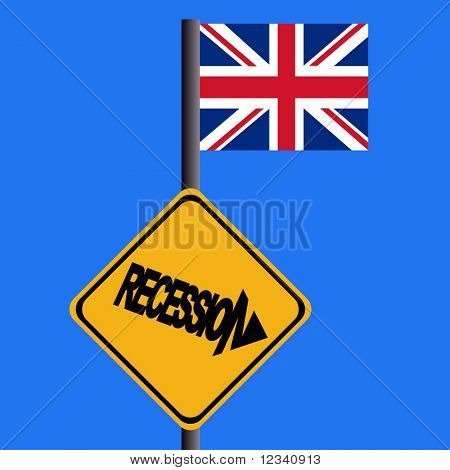 Recession warning sign and British flag illustration