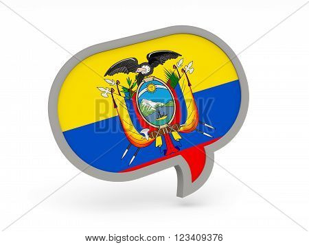 Chat Icon With Flag Of Ecuador