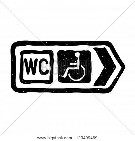 Simple Doodle Of A Road Sign Showing Direction To Toilet With Disabled Access