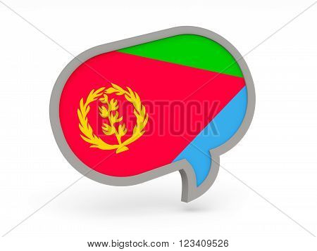 Chat icon with flag of eritrea isolated on white