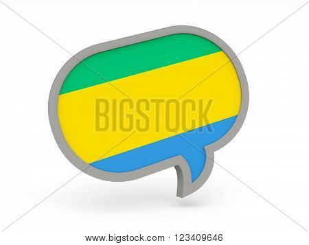 Chat Icon With Flag Of Gabon