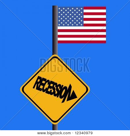 Recession warning sign and American flag illustration