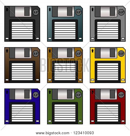 Computer generated vector set of floppy disks.