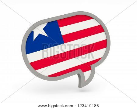 Chat Icon With Flag Of Liberia