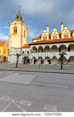 Old town hall in the main square of medieval town of Levoca in eastern Slovakia.