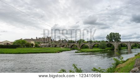 Castle of Carcassonne and Pont Vieux bridge in southern France
