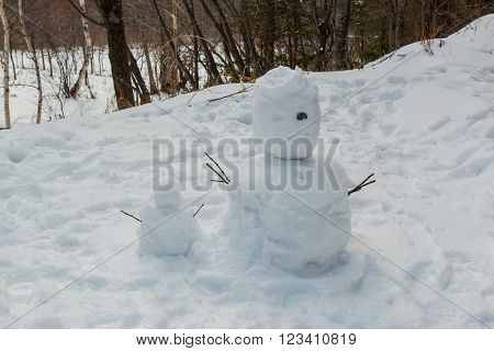 Ugly snowman be built from kid winter season.