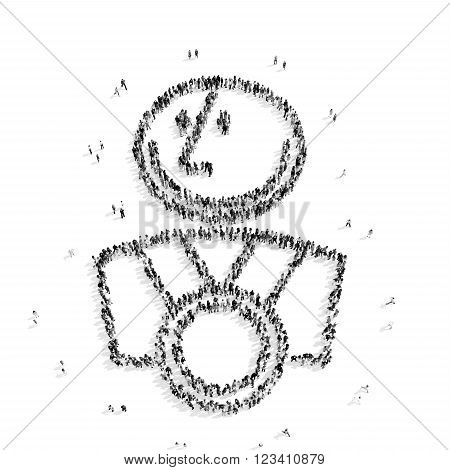 A group of people in the shape of man, a reward, a flash mob.3D illustration.black and white