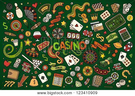 Colorful vector hand drawn doodles cartoon set of Casino objects and symbols