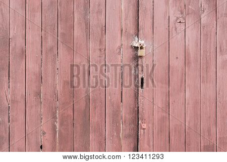 Wooden Wall Texture With Locked Key.