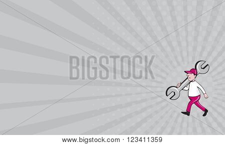 Business card showing illustration of a mechanic wearing hat holding monkey wrench spanner on shoulder walking viewed from the side set on isolated white background done in cartoon style.