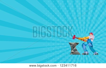 Business card showing Low polygon style illustration of a blacksmith worker with sledgehammer striking at anvil viewed from side set on isolated white background