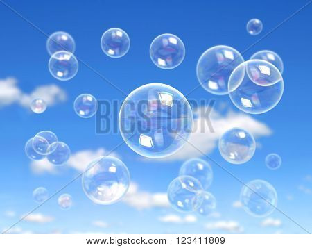 Water soap bubble on blue background Realistic Soap Bubbles set