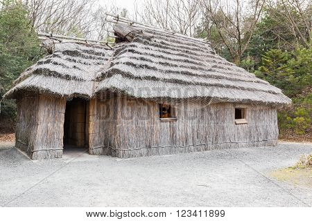 Acient House Thatched Roof Building Of Ainu.