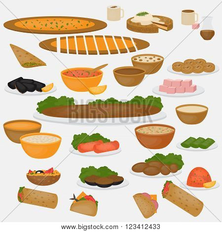 Middle East Food. Common main and side dishes, desserts, bread and drinks.Traditional food and beverages of Turkish cuisine.