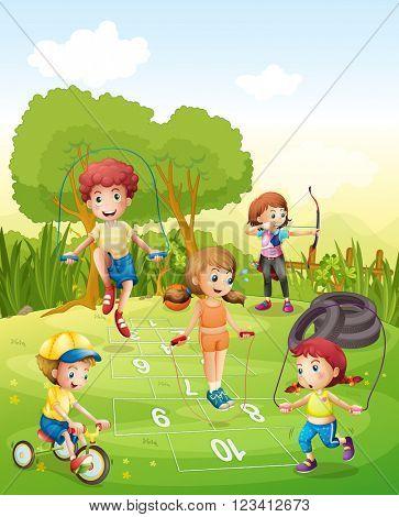 Kids exercising in the garden illustration