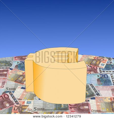 Euro symbol on european currency illustration