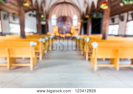 Church Interior Blur Abstract For Background.