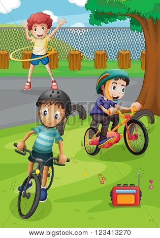 Boys riding bike and exercising in the park illustration
