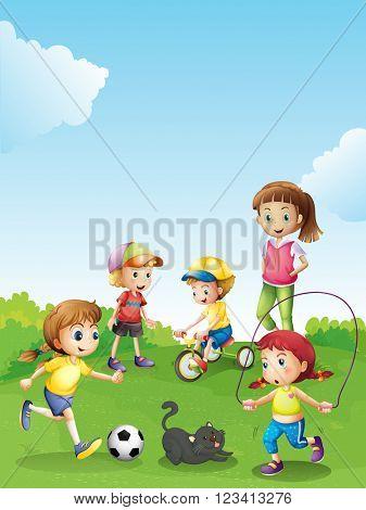 Kids having fun in the park illustration