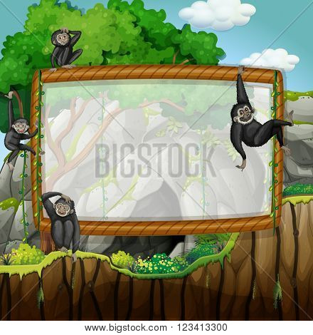 Frame design with gibbons at the cave illustration