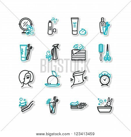 Set of icons - beauty personal hygiene. A vector.