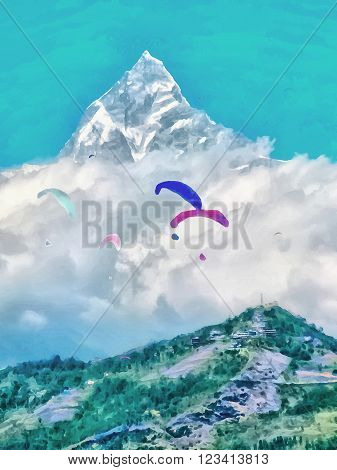 Watercolor. Annapurna mountain range. Machapuchare Mountain - home of the god Shiva. Paragliding in Pokhara Nepal. Travel tourism.