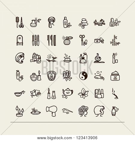 Set of icons - beauty saloon Spa barbershop. A vector.