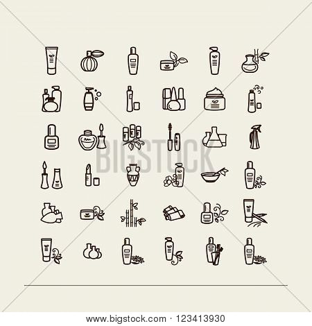 Set of icons - vials creams cosmetics. A vector.