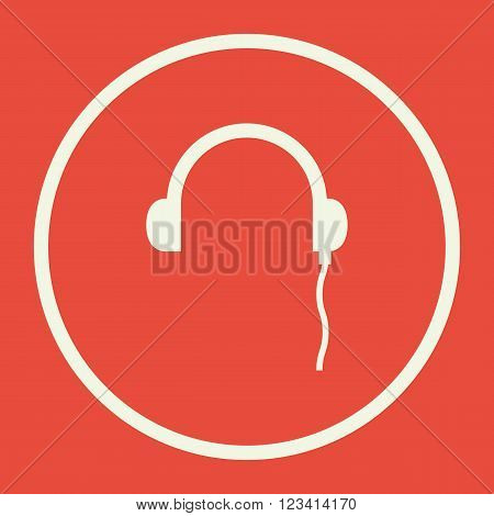 Headphones Icon; Icon vector; on red background; white circle border; white outline