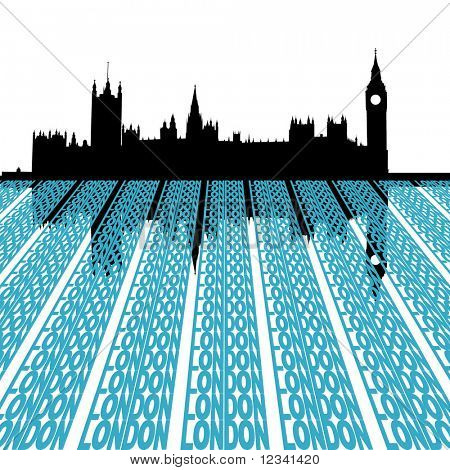 Houses of Parliament reflected with London text illustration
