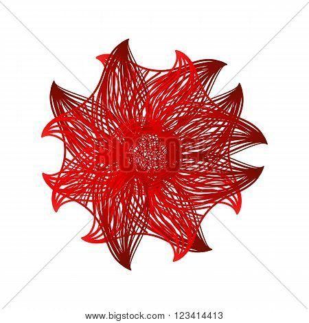 Red Vector Flower On White