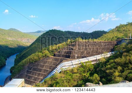 Summer mountain and canyon dam (from Kanchanaburi province Si Nakharin Dam).