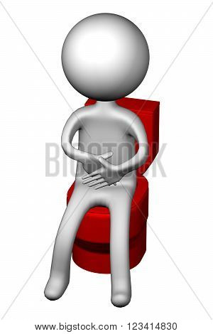 3d Man on the toilet seat isolated on white background. 3D render.