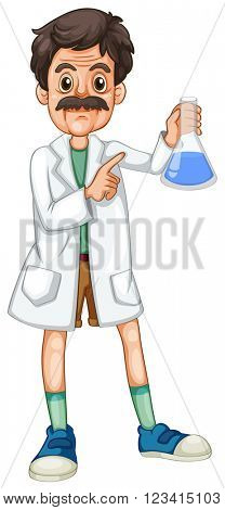 Scientist with chemical in hand illustration