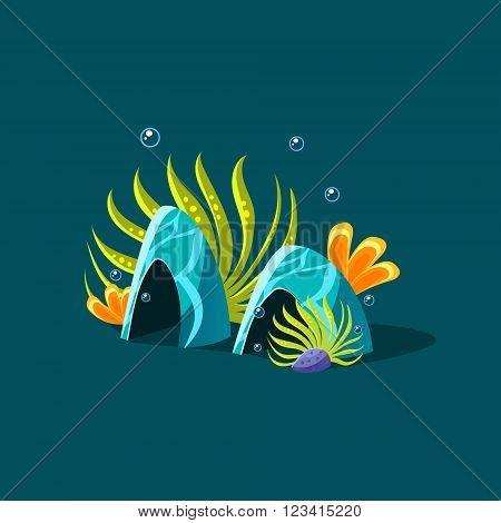 Algae And Blue Coral Cute Cartoon Style Vector Illustration On Dark Blue Background