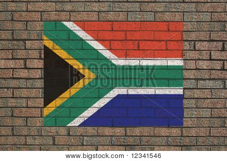 South African flag painted on brick wall illustration
