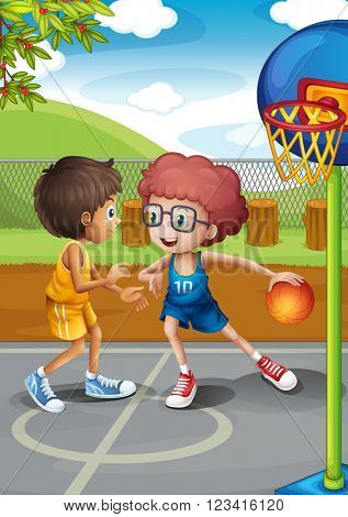 Two boys playing basketball at the court illustration