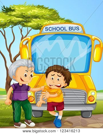 Bully boy picking on other boy in school bus illustration