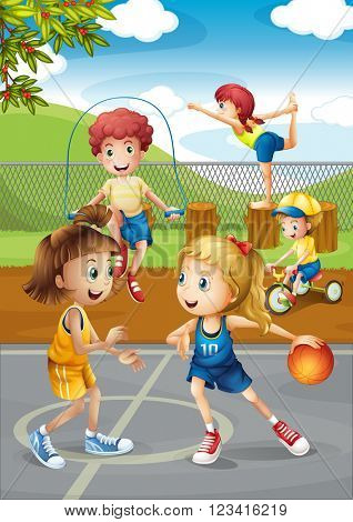 Children playing sport at the court illustration