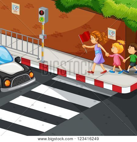 Children walking on the pavement illustration