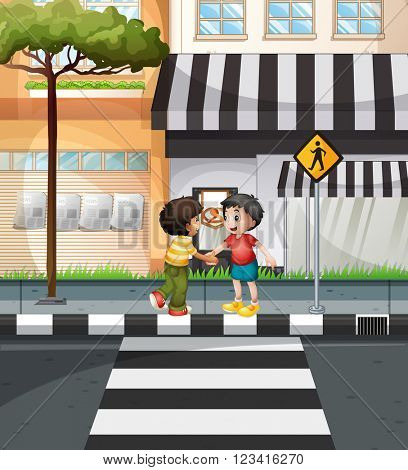 Two boys waiting to cross the road illustration