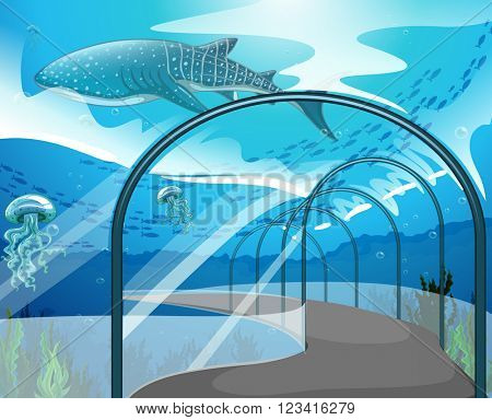Aquarium scene with sea animals illustration