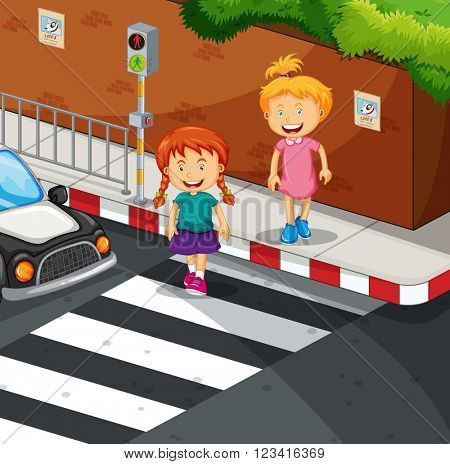 Two girls crossing the road illustration