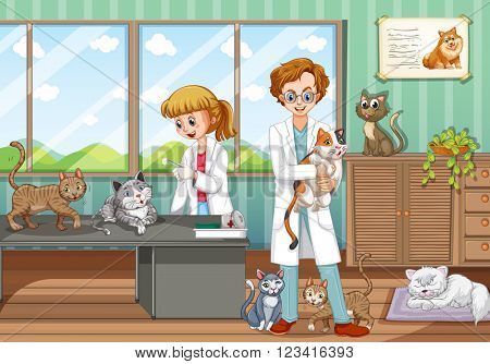 Two vets healing animals in the hospital illustration