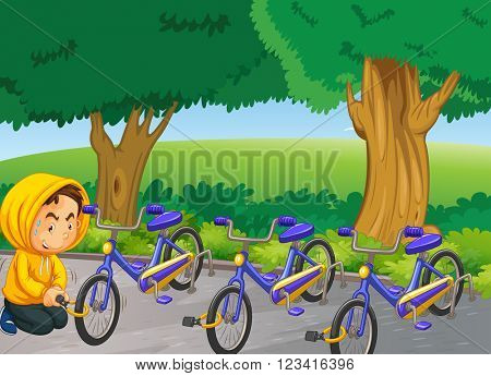 Man stealing bike in the park illustration
