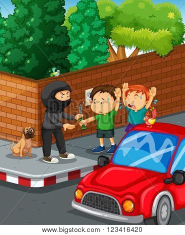 Kids being robbed at the road corner illustration