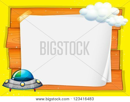 Frame design with UFO flying illustration