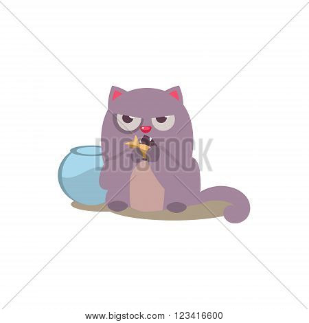 Cat Eating Golden Fish Adorable Emoji Flat Vector Caroon Style Isolated Icon