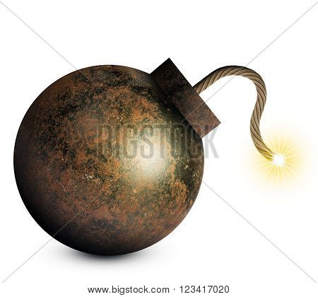 Money style bomb with ignited fuse isolated on white background. 3D rendering